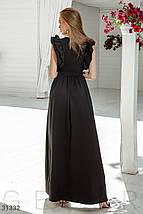 Вечернее легкое платье с поясом юбка в легкую складку черный, фото 2