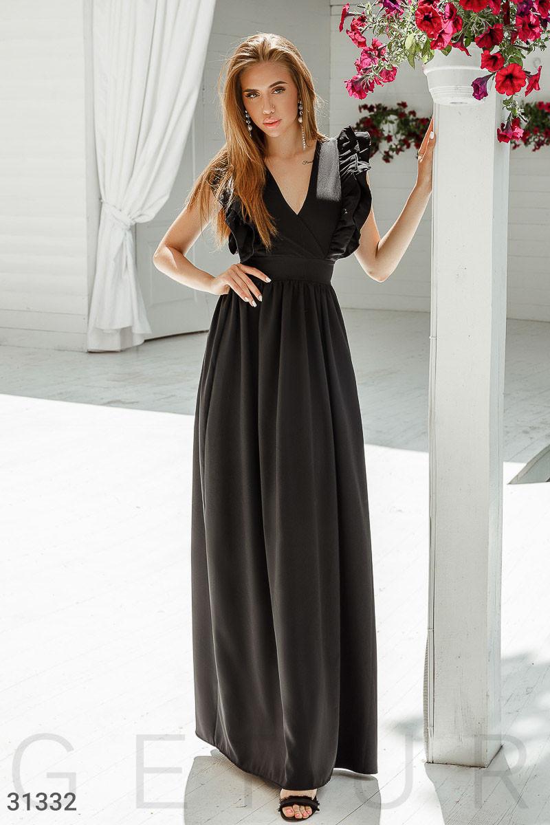 Вечернее легкое платье с поясом юбка в легкую складку черный