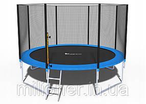 Батут FunFit 374 см с сеткой + лестница(2 места)