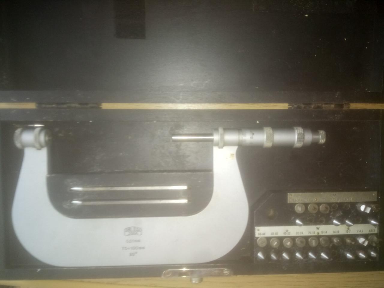 Микрометр резьбовой Carl Zeiss75-100 (аналог МВМ 75-100 ) с вставками на 55 град.,и 60 град.,, фото 1
