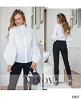 Стильная молодёжная рубашка из коттона с оригинальными рукавами чёрная и белая с 42 по 46 размер