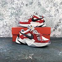 """Кроссовки Nike M2K Tekno x Off White """"White\Red"""" мужские, в стиле Найк М2К Техно, кожа, текстиль, код IN-76"""