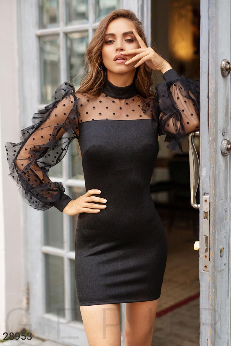 Стильное вечернее мини-платье черного цвета