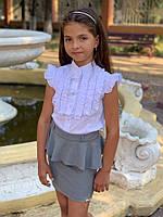 Блузка на девочку школьная с рюшами  мм631, фото 1