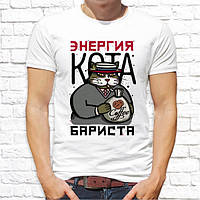 Мужская футболка Push IT с принтом Кот Бариста