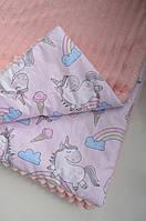 Детский плюшевый плед единороги с радугой, в кроватку и коляску
