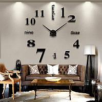 3D Часы настенные 100 см Надписи черные часы наклейки в столовую большие [Пластик]