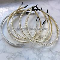 Плетеный жемчужный обруч на серебристой и золотистой основе (6 вариантов)