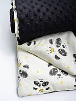 Детский плюшевый плед, в кроватку и коляску панды с короной