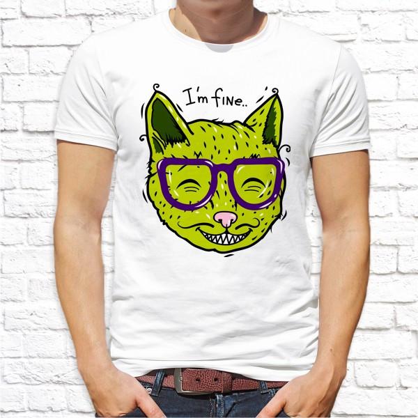 Мужская футболка Push IT с принтом Зеленый Кот