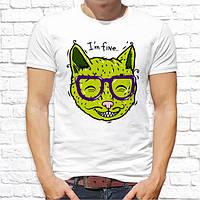 Мужская футболка с принтом Зеленый Кот M, Белый Push IT