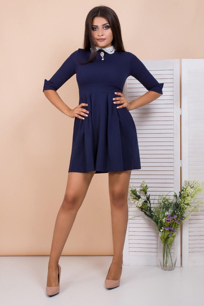 Короткое мини платье с воротниокм 42-48