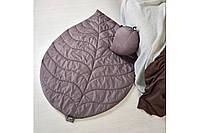 Стьобаний килимок та подушка: Набір Листочок шоколадний