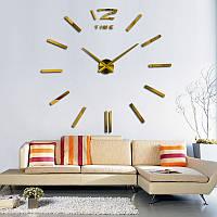 Часы настенные 3D 100 см Палочки золотые наклейки стикеры на стену большие [Пластик]