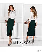 Стильная  молодёжная длинная юбка-  карандаш с разрезом впереди   42-48, фото 2