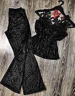 Черная пижама штаны и майка с кружевом-мраморный велюр.