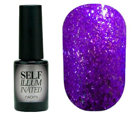 """Гель-лак для ногтей Naomi """"Self Illuminated"""" №05 Плотный фиолетовый с блестками и слюдой 6 мл"""