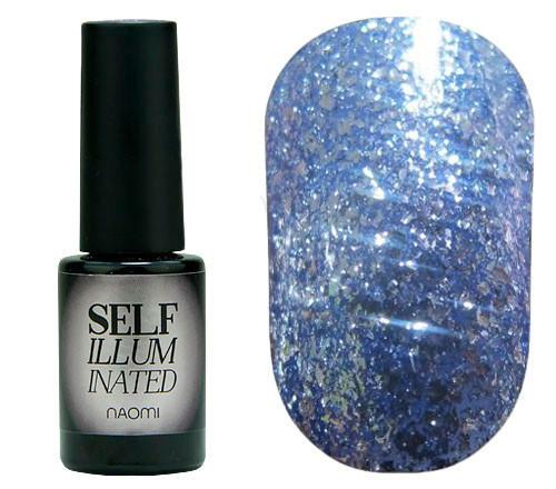 """Гель-лак для ногтей Naomi """"Self Illuminated"""" №08 Плотный блестящий нежно-голубой с блестками и слюдой6 мл"""