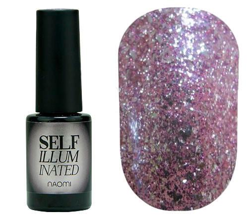 """Гель-лак для ногтей Naomi """"Self Illuminated"""" №09 Плотный розово-серебристый с сияющими блестками и слюдой 6 мл"""