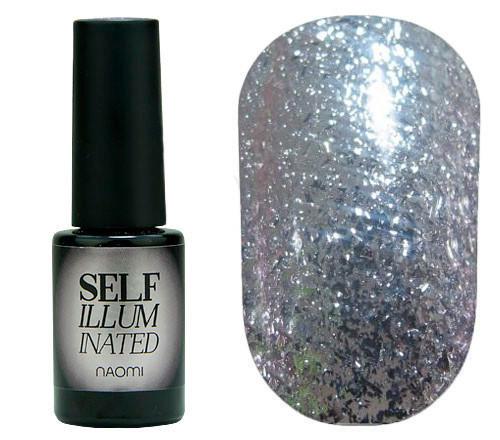 """Гель-лак для ногтей Naomi """"Self Illuminated"""" №10 Плотный серебристый с блестками и слюдой 6 мл"""