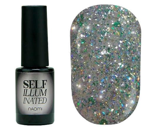 """Гель-лак для нігтів Naomi """"Self Illuminated"""" №28 Щільний світло-зелений з блискітками, слюдою і зеленими"""