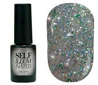 """Гель-лак для ногтей Naomi """"Self Illuminated"""" №28 Плотный светло-зеленый с блестками, слюдой и зелеными конфетти 6 мл"""