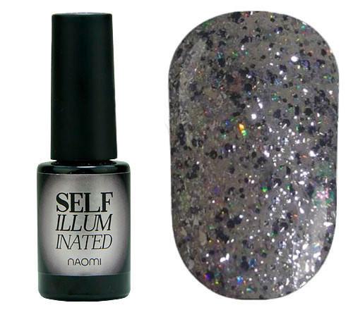 """Гель-лак для нігтів Naomi """"Self Illuminated"""" №30 Щільний срібло з блискітками, слюдою і жовто-салатовим"""