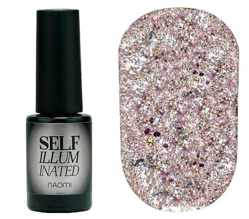 """Гель-лак для нігтів Naomi """"Self Illuminated"""" №31 Щільний світла рожева бронза з кольоровими блискітками і"""