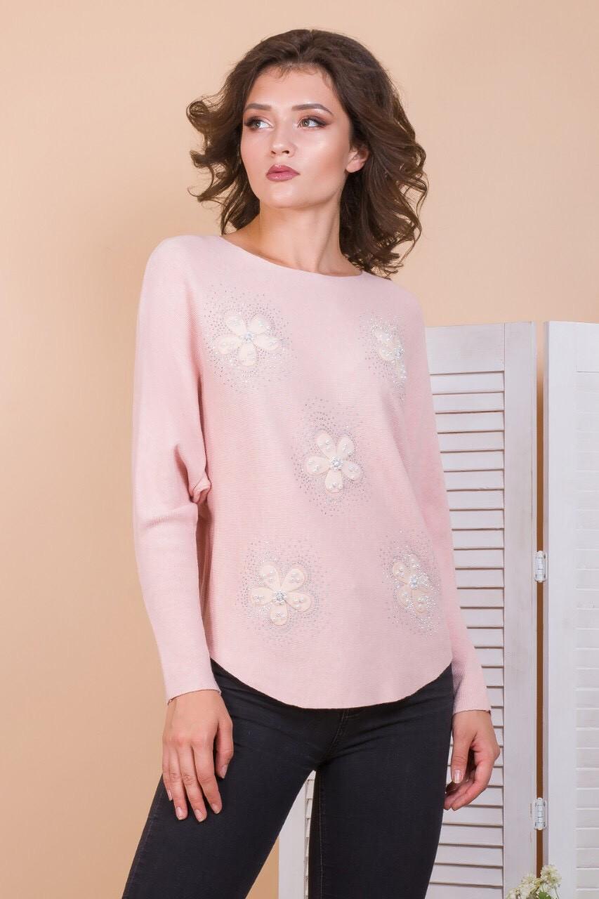 Нежный свитер с ромашками 46-50 (в расцветках)