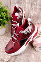 Женские кроссовки бордовые-марсала эко-кожа+текстиль, фото 1