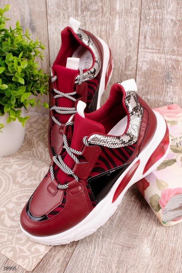 Женские кроссовки бордовые-марсала эко-кожа+текстиль