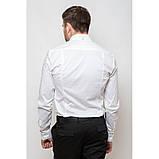 Стильная приталенная мужская рубашка белая длинный рукав, фото 6