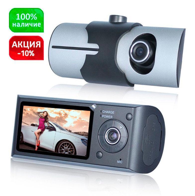 Видеорегистратор автомобильный R300 (2 камеры + GPS + g-сенсор и циклическая запись +  режим парковки)