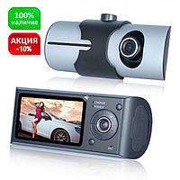Видеорегистратор автомобильный R300 (2 камеры + GPS + g-сенсор и циклическая запись +  режим парковки), фото 1