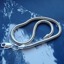 Серебряный браслет, 220мм, 7 грамм, плетение Снейк, фото 2