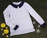 Блуза на девочку, длинный рукав, р. 128-146, белый с принтом, фото 1