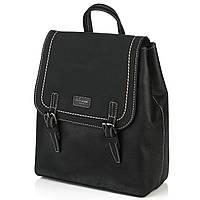 Рюкзак женский черного цвета с белой строчкой  DAVID JONES