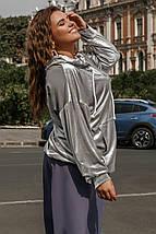 """Бархатный женский батник-худи """"HOODY"""" с капюшоном (большие размеры), фото 3"""