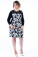 Женское батальное платье нарядное Вензель бежевый. Размер 50-58