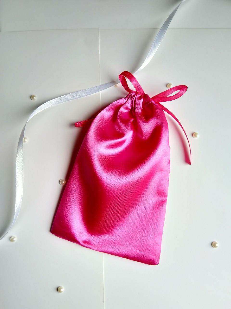 Атласный мешочек для подарка  13 х 18 см  малиновый