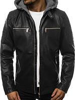 Мужская кожаная куртка с капюшоном 0665
