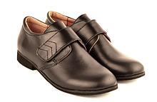 Туфли школьные для мальчика кожаные на липучке 732102