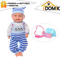 Пупс игрушечный в голубой одежде + набор доктора и горшок 6115 AC | детская куколка