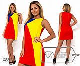 Платье мини из льна трехцветное без рукавов с застежкой молнией вдоль спины, 3 цвета, фото 2