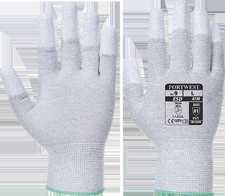 Антистатические перчатки с ПУ покрытием на пальцах Portwest A198 Серый, L