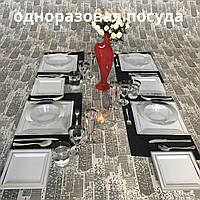 Посуда одноразовая стеклопластик 96 шт 6 пер белая с серебром. Capital For People., фото 1