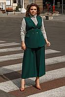 """Женский брючный костюм-тройка """"Ottawa"""" с жилетом и гольфом (большие размеры)"""