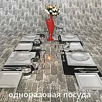 Одноразовая посуда элитная для корпоротивов, event.Полная сервировка стола. CFP 96 шт 6 пер
