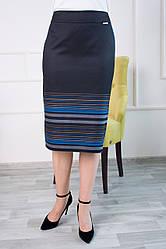 Женская синяя юбка карандаш Оксана