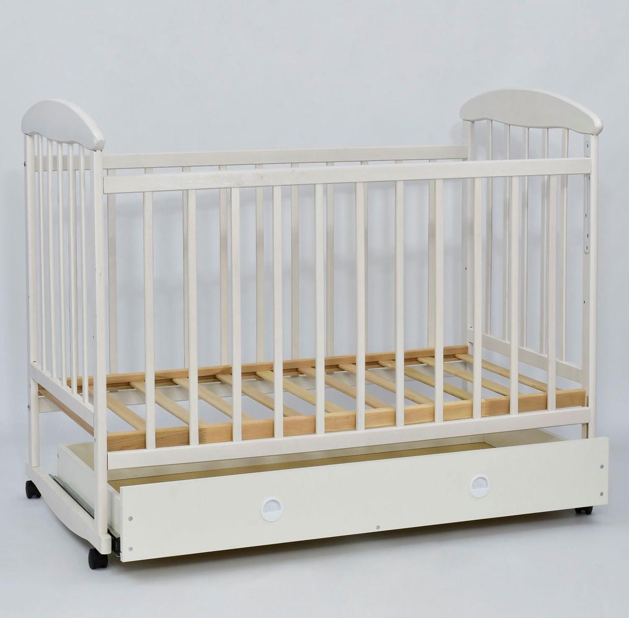 """Кроватка-качалка деревянная с шухлядой БЕЛАЯ """"НАТАЛКА"""" 67643"""
